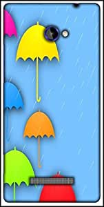 Snoogg Abstract Rainy Season Background With Colorful Umbrella And Raindrops Designer Protective Back Case Cover For HTC Windows Phone 8S