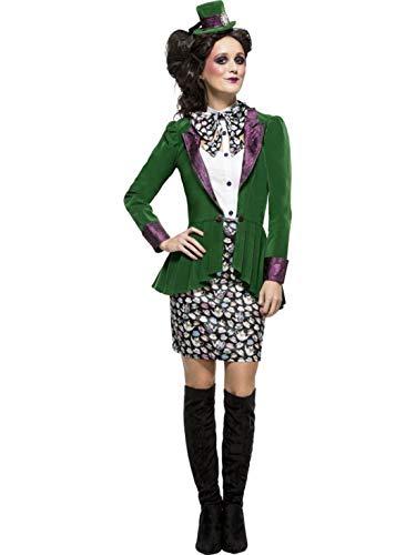 Frauen Kostüm verrückter Hutmacher Rock mit Jacke Bluse und Haarreif Hut, Crazy Mad Hatter, perfekt für Halloween Karneval und Fasching, M, Grün ()