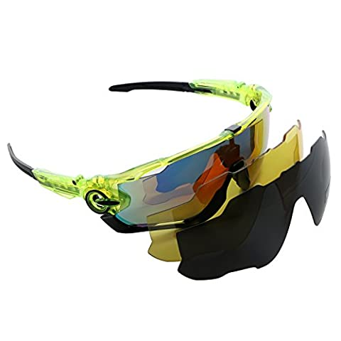 Polarized Sports Sunglasses with 3 Color Lenses (REVO, Yellow, Gray) Eyewear Glasses Designed for Fishing Skiing Driving Hiking Golfing Running Cycling Camping Sports and Outdoors Activities (Green-black)