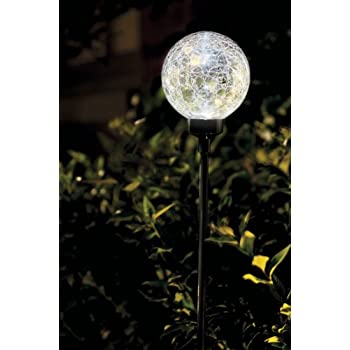 Large White Border Ball Cracked Outdoor Garden Solar Light