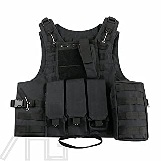 New Adjustable Tactical Military Vest Army Paintball Airsoft Combat Assault Vest, For Army Combat Game Jungle and Outdoor Activities (Black)