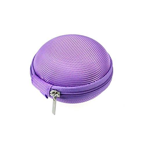 Tonsee® Mini Zipper écouteurs casque Sac de stockage Box étui de transport de casque (Rose) Violet