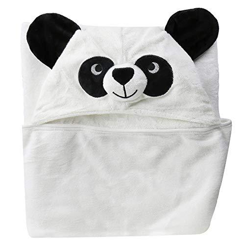 Baby Kapuzenhandtuch| Panda-Design/Badehandtuch aus 100% Bambus/90x90cm/ Badetuch mit Kapuze für Jungen und Mädchen
