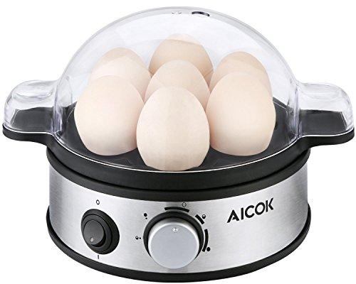Aicok Eierkocher für 1-7 Eier, mit Härtegradeinstellung, 400 Watt, Schwarz/Silber