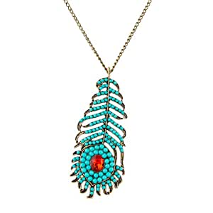 Habors Blue Stone Studded Peacock Feather Pendant with Long Chain Necklace for Women
