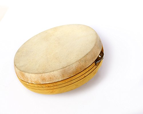 De Kulture™ Kanjira Hand Percussion Musical Instrument 6.5X2.5 DH (Inches) Key-Tuned For Concert Antique Veneer Ideal For New Year Anniversary BirthDay Gift For Girl Woman Boy Man