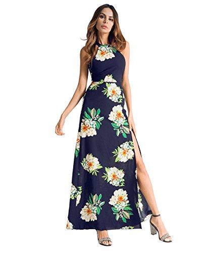Lh$yu Women Vintage Backless Dress Sexy Floral Print Sleeveless Long skirt Summer Beach Long Slip Blue Evening Swing Party Dress -