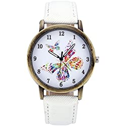 JSDDE Unisex Retro Bronze Case Colorful Butterfly Dial White Canvas Veins PU Leather Band Watch