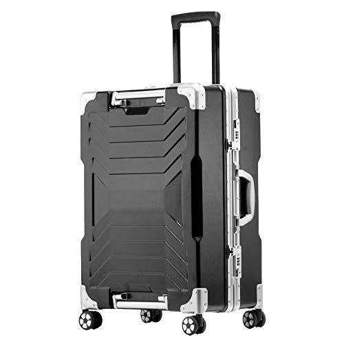 Valigia Rigida,Valigia A 4 Ruote,ABS Trolley Bagaglio A Mano Valigia Rigida Leggera,Black-24Inch