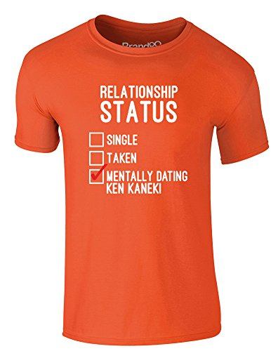 Brand88 - Mentally Dating Ken Kaneki, Erwachsene Gedrucktes T-Shirt Orange/Weiß/Rote