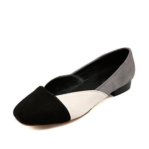 AllhqFashion Damen Ziehen Auf Quadratisch Zehe Niedriger Absatz Nubukleder Pumps Schuhe Cremefarben