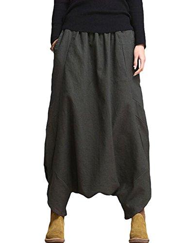 Vogstyle Femme Sarouel Jogging Ample Pantalon Déconrtacté Uni en Coton Style 2 Gris-vert