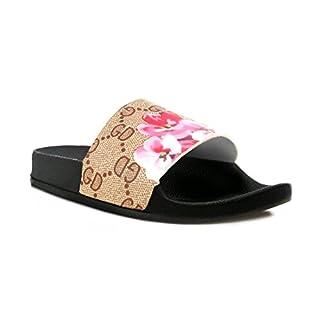 Kids Childrens Slider Sandal Slip On Shoe Faux Fur Diamante Diamond (33 EU/UK 1, Brown Floral)