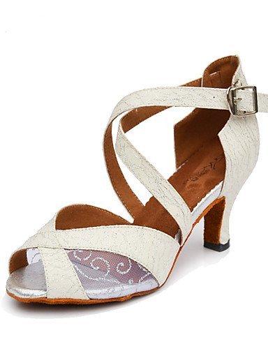 ShangYi Chaussures de danse(Noir / Blanc / Or) -Non Personnalisables-Talon Bobine-Paillette Brillante-Salsa White