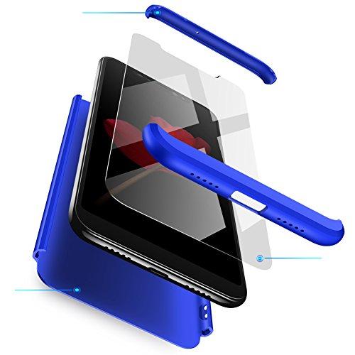 Jardire Kompatibel Oppo R7s Plus/R7 Plus Hülle Blau,+ hergeben (2 Stück) HD Panzerglas Schutzfolie,Handyhülle 3 in 1 Harte Hülle 360 Grad Fullbody Schutz Hülle Bumper Case Cover