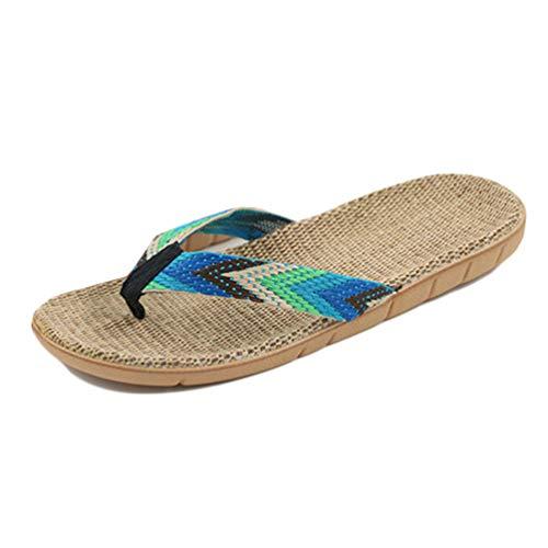 Qianliuk Uomo Pantofole Scarpe Estate Antiscivolo Flat Spiaggia di Paglia Sandali Uomo Casual Infradito