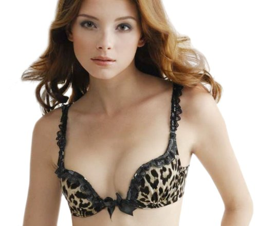 aimerfeel Dessous- Safari-Leopard-Druck-push up-BH mit Pailletten Blumenspitze Set