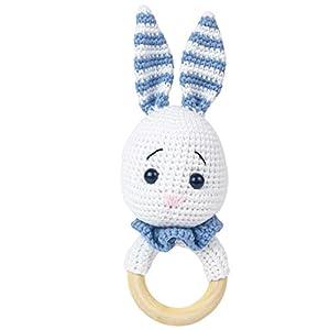 Häkel-Hase – Amigurumi Greifling – Rassel – Ring aus Holz – Babyrassel – Geschenk für Babys – Mädchen und Jungen – Babyspielzeug