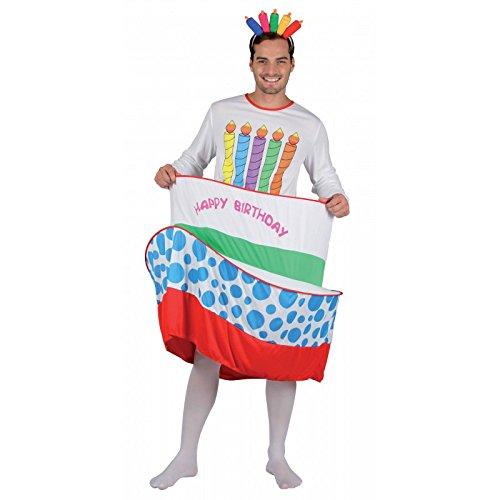 P' tit Clown 86898costume adulto uomo torta di compleanno–Taglia unica–Multicolore