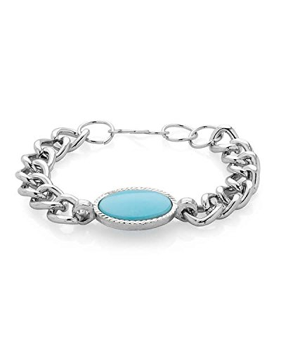 Factorywala Silver Metal Adorned With Blue Turquoise Strand Bracelet For Men
