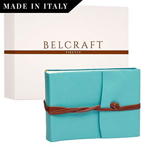 Capri Fotoalbum Leder, Handgearbeitet in klassischem italienischem Stil, Geschenkschachtel inklusive, A5 (16x21 cm) Aqua Capri-album