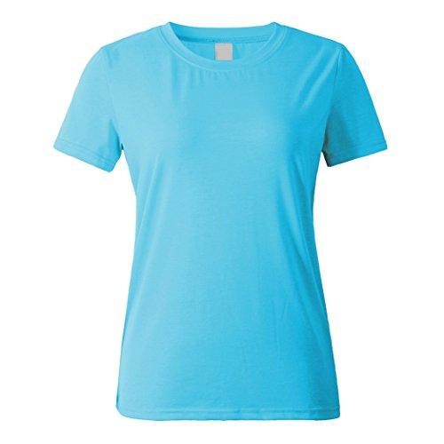Yeese Sommer Damen Beiläufig Rundhals Kurzarm Tee Tops Solide Blank Loose T-shirts Hellblaues