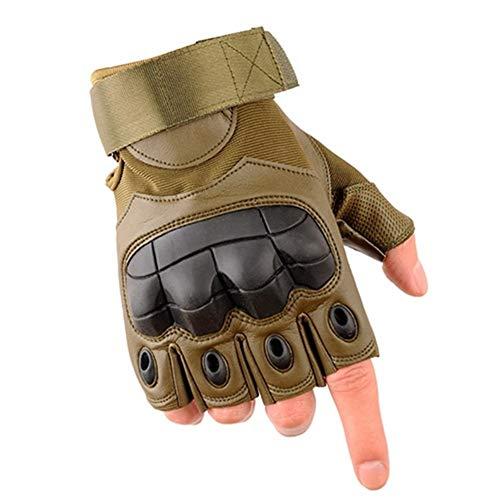 Befreien Handschuhe Outdoor PU Leder taktische fingerlose Handschuhe Militär Armee Schießen Wandern Jagd Sport Radfahren Reiten halbe Fingerhandschuhe arbeitshandschuhe ( Color : Green , Size : XL ) -