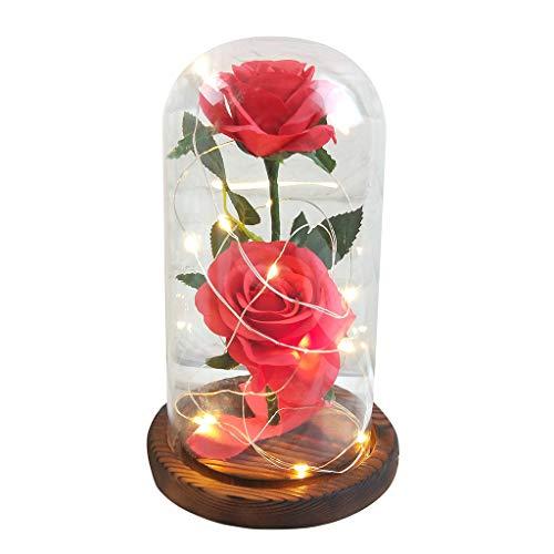 Jamicy LED Dekoration für Weihnachten, künstliche Blumen, romantische Glas Rose Hochzeitsdekoration Heimtextilien DIY Haus Garten Dekor ()
