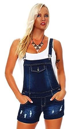 10631 Fashion4Young Damen Hotpants Short kurze mit Hosenträgern Hot Pants Latzhose verfügbar in 5 Gr. (XS=34, Dunkelblau)