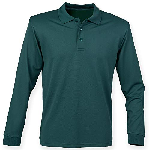 HB478 Henbury Long Sleeve Coolplus Polo Shirt Bottle L -