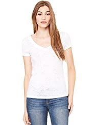 Bella - T-shirt -  - Uni - Col V - Manches courtes Femme