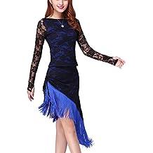 Moresave Latin Danse Robe Cha Cha Salsa Tassel Robe de Danse du Ventre  Femme Costume de 559fb79b94d5