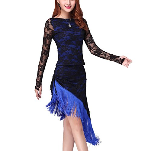Kleid für Frau,Doubleer Lange Ärmelspitze Quasseltanz Kleidung unregelmäßig Saum Damen Party Tanzbekleidung Tanzende Kleidung (Rumba Frau Kostüm)