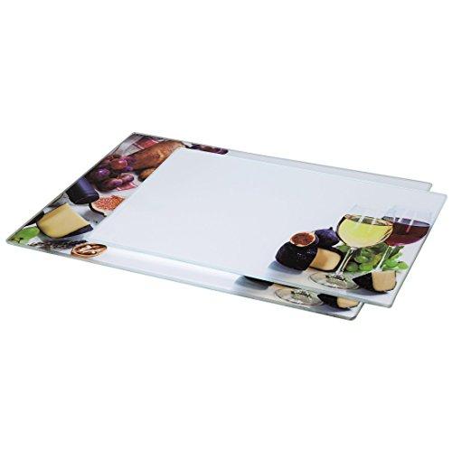 Xavax 00111537 Glasschneideplatten, 2 Stück, Design Wein (Schneidebretter aus Glas, 1 x in 30x20cm...