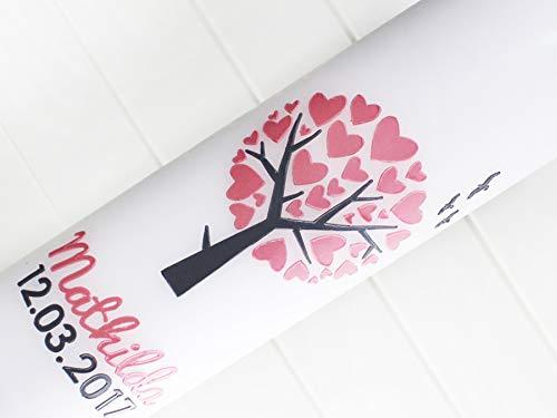 Taufkerze Mädchen, Zur Taufe, Kommunion, Lebensbaum, Herzblüten, Baum, Taufkerzen, Herzen, Vogel, weiß, 275x70mm, made in germany