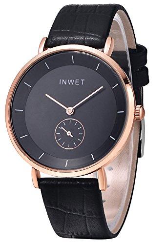 Inwet Herren Quarz Armbanduhr mit Schwarz Zifferblatt Analoge Anzeigen und Leder Armband