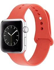 ZRO für Apple Watch Armband, Soft Silikon Ersatz Uhrenarmbänder für 42mm iWatch Serie 3/ Serie 2/ Serie 1, Größe M/L, Orange