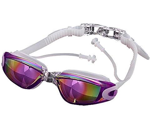 Lunettes de natation, lunettes de natation pour adulte Homme Femme Youth pour enfants, avec anti-buée, étanche, UV, Enfant, violet