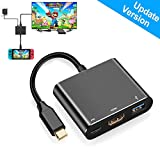 HDMI Type C Hub Adapter for Nintendo Switch,HDMI Converter Dock Cable for Nintendo Switch,Black