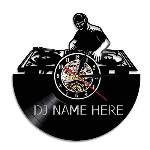Mezclador de DJ Reloj de Pared Moderno Personalizado tu Nombre Disco de Vinilo Reloj de Pared Rock N Roll Disco Reloj de Pared Amante de la música Regalo para DJ
