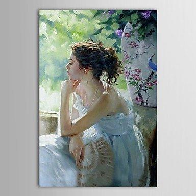 Handgemalte Ölmalerei Denkende Frau mit gestreckten Rahmen