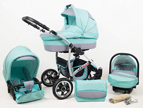 True Love Larmax Kinderwagen Komplettset (Autositz & Adapter, Regenschutz, Moskitonetz, Schwenkräder) (Mint)