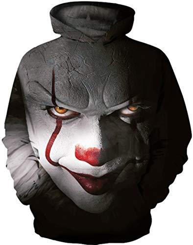 Ocean Plus Jungen 3D Kapuzenpullover Spaß Sweatshirt Hoodie mit Kängurutasche Sportlich Digitaldruck Pullover mit Kapuze (XXL (Körpergröße: 145-155cm), Teufel Clown) -