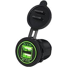 Samoleus Dual USB DC12V-24V Cargador de la Energía del Adaptador de Enchufe de Encendedor del Coche Zócalo para Coche Motocicleta(Luz verde)