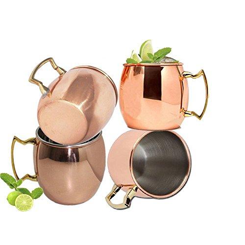 Gehämmerter Moscow Mule Copper Mug, Set Aus 4Stainless Steel Futter Für Männer Und Frauen Gut Für Bier Ginger Beer Cocktails 18 Oz Von Royala Towle Cocktail