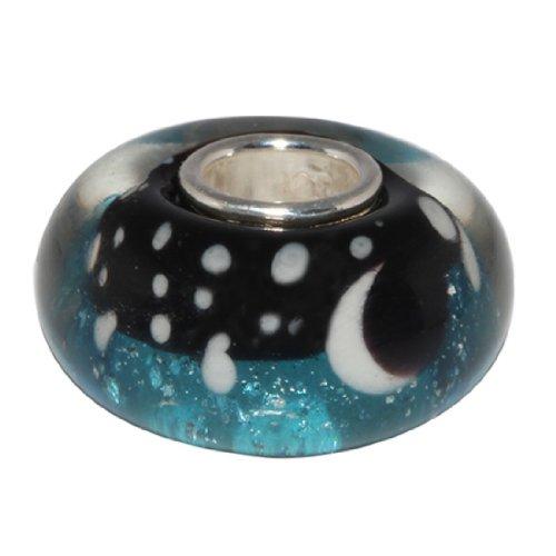 Beads Hunter Charm en verre de Murano et argent sterling 925, pour bracelet et collier Starry Night