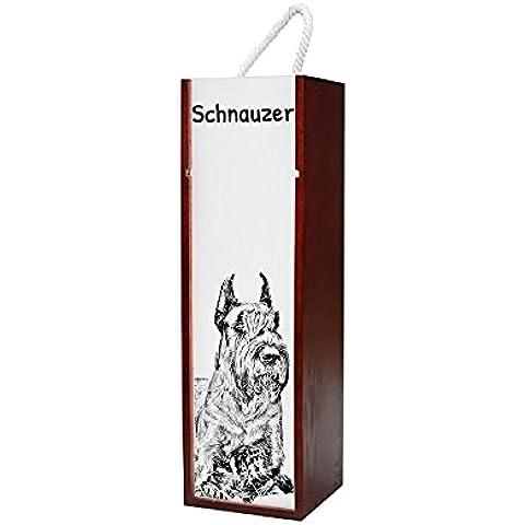 Schnauzer ritagliata, Contenitore di vino di legno con l'immagine di un cane