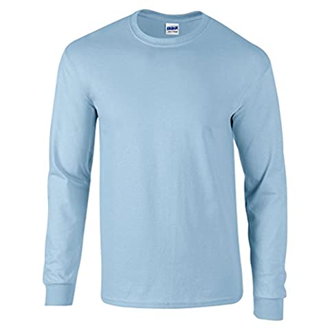 Gildan T-Shirt en coton à manches longues - Bleu - Small