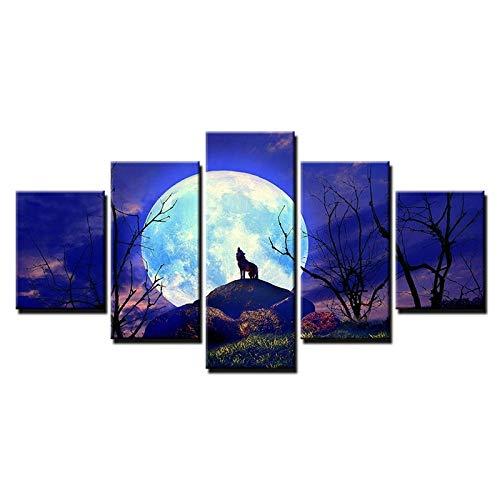 HQATPR 5-teiliges Set Für Malen Original Öl Tinte Leinwanddruck Wolf Gesicht Blue Moon Auf Leinwand Wandkunst Bild Home Decor (Wolf Gesicht Malen)