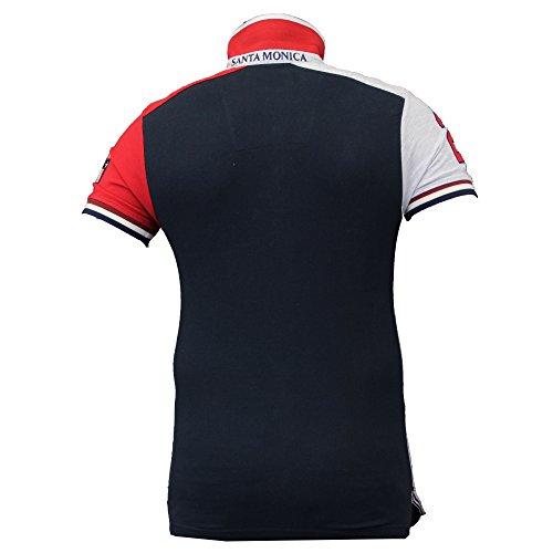 Jungen Polo T-Shirt Santa Monica Kinder Piquet Top American USA Kurzärmlig Sommer Marineblau - COBB